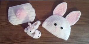 Crochet Bunny Slippers Hat Diaper Cover