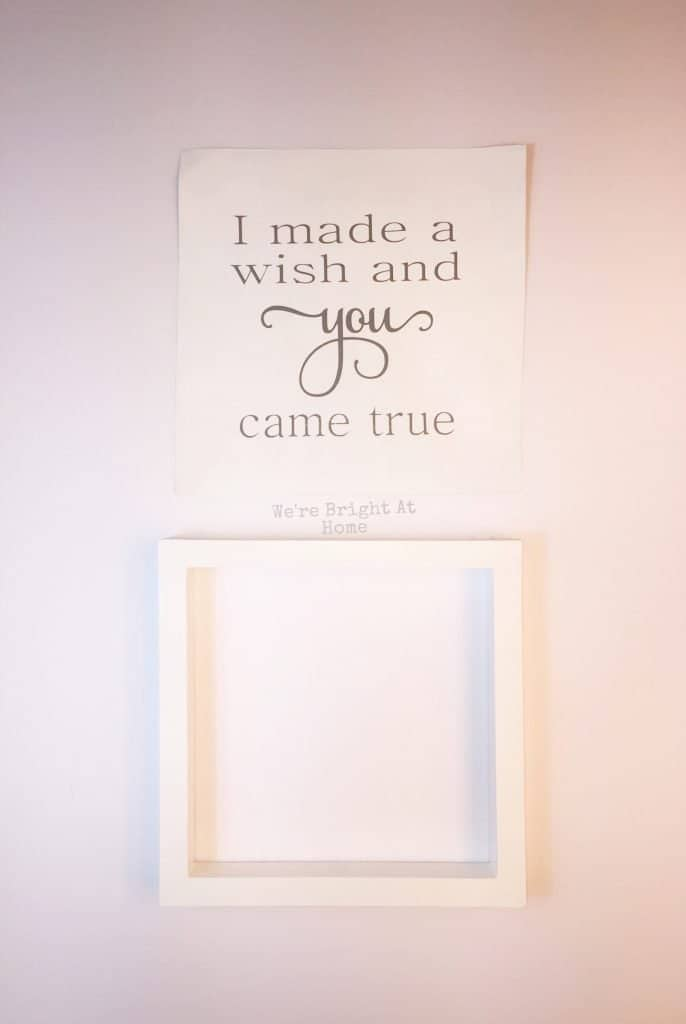 DIY Reverse Canvas with Phrase and Frame